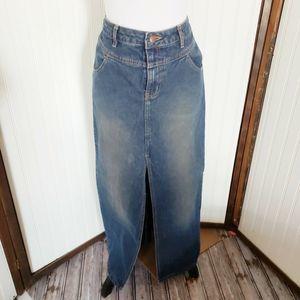 Long full modest Prairie maxi denim jean skirt